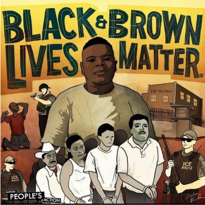 "the words ""Black & Brown Lives Matter"" with images of people put in immigration detention and brutalized by the police"